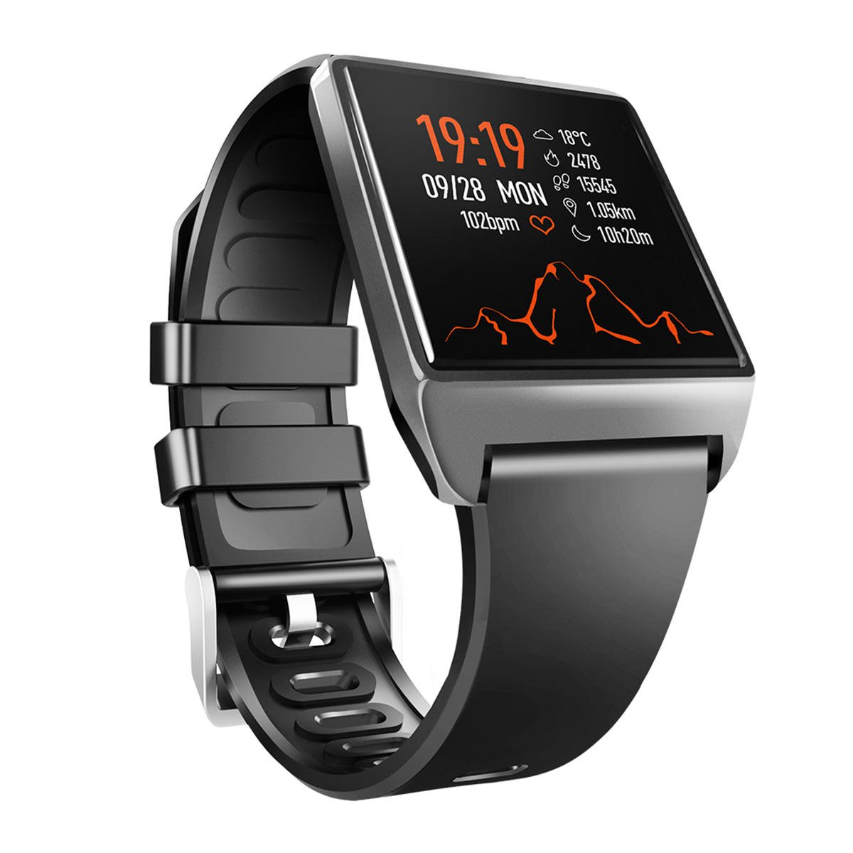 W2 1.3' IP68 Heart Rate, Blood Pressure Monitor Music Camera Remote Fitness Smart Bracelet - Black