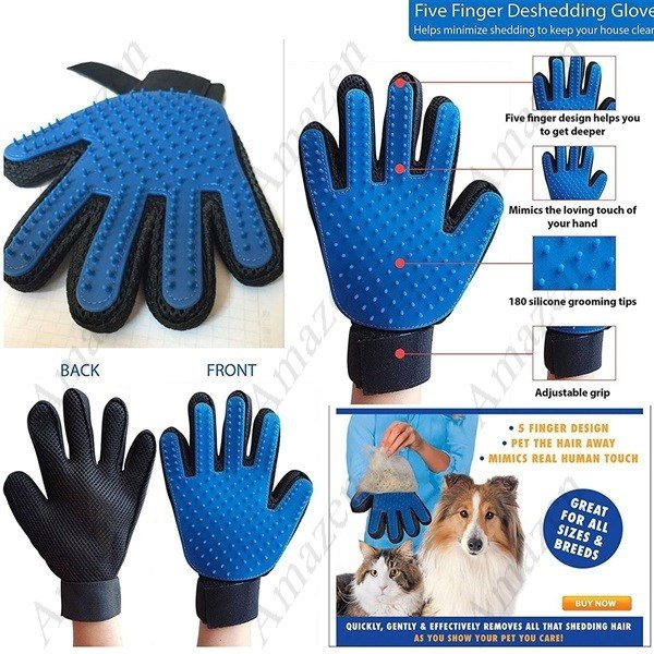 True Touch Deshedding Pet Brush Glove Grooming Pet Hair Glove for Cats, Dogs - Right Hand