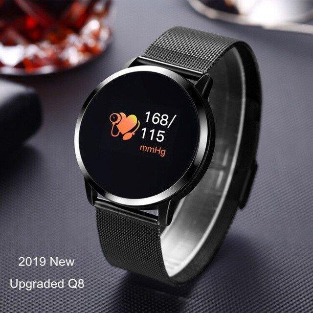 Latest Q8-Pro Heart Rate Blood Pressure Women Psychological Clock Fitness Smart Bracelet - Black