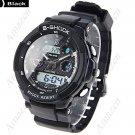 AK1170 Silicone Digital Watch/Quartz Analog Watch  - Black