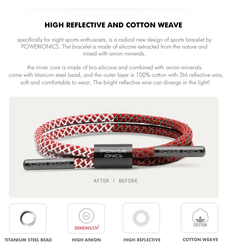 Power Ionics Weave Reflective Braided Rope Anions Sports Bracelet Band - 3000ions