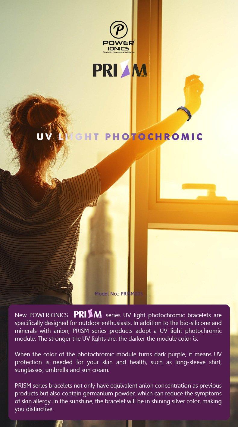 Power Ionics PRISM  2000ions UV Light Photochromic Anions Sports Bracelet