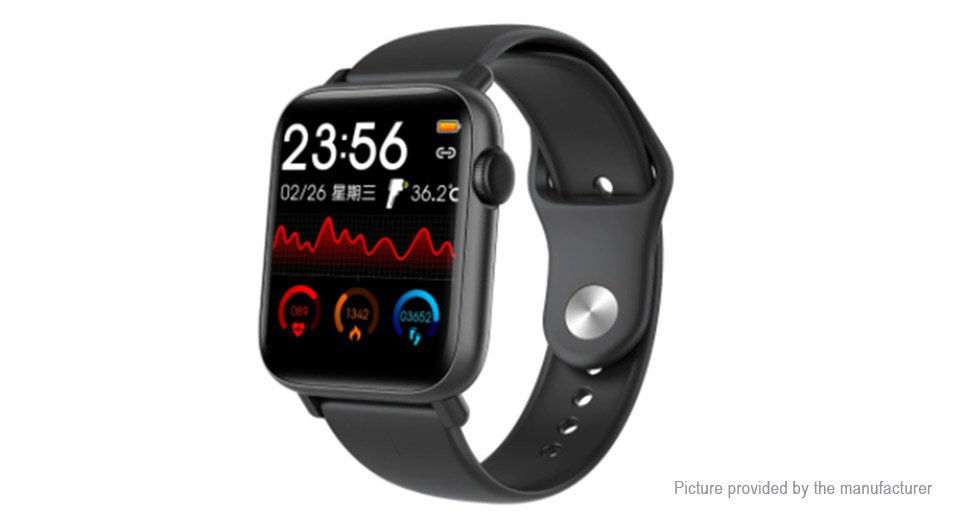 "New Model! QS19 1.54"" IPS BTH 5.0 Smart Watch Body temp/heart rate/blood pressure/oxygen- Black"