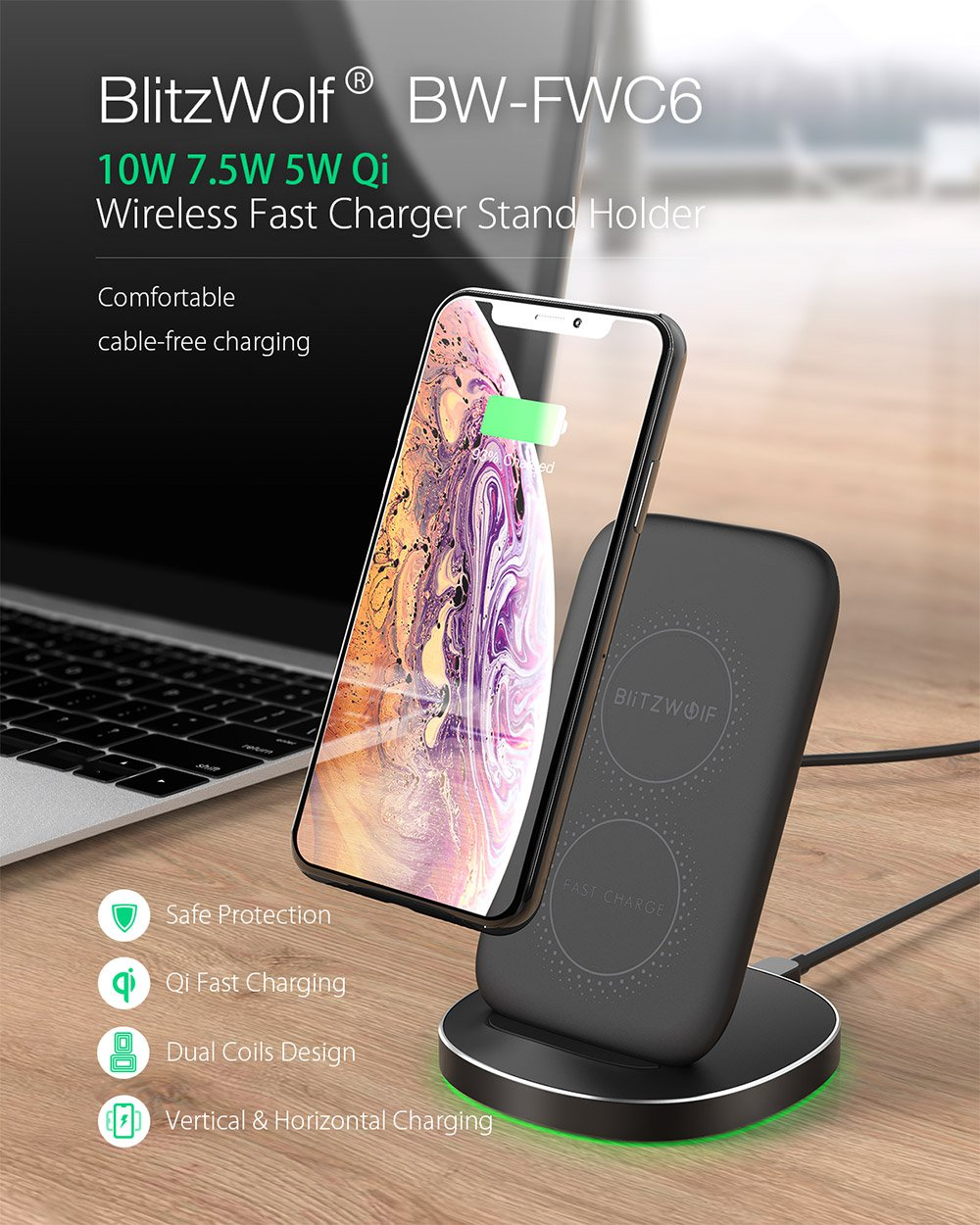 BW FWC6 10W 7.5W 5W Dual Coils Qi Smart Wireless Fast Charger