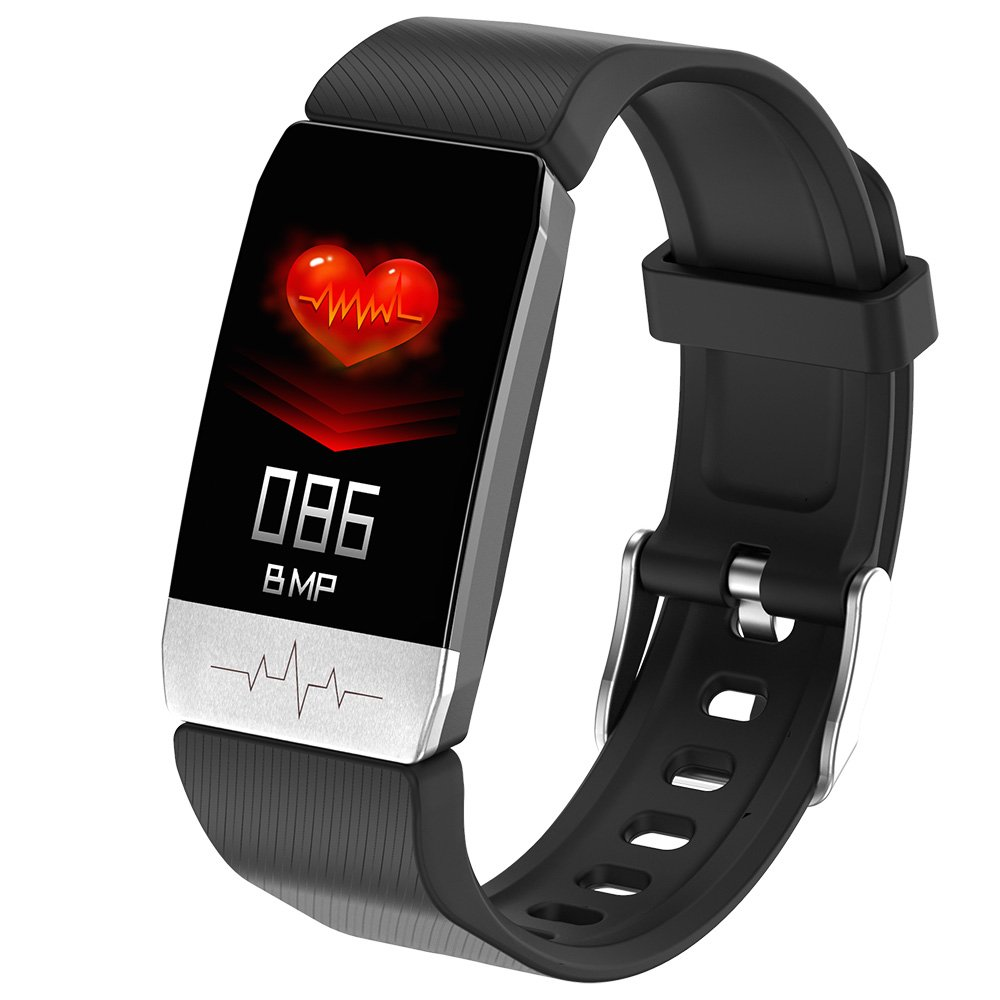 ECG Monitor Heart Rate Blood Pressure SpO2 Monitor Thermometer Health Care Smart Bracelet - Black