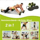 2 In 1 Abdominal Double Wheel Roller and Resistance Bands