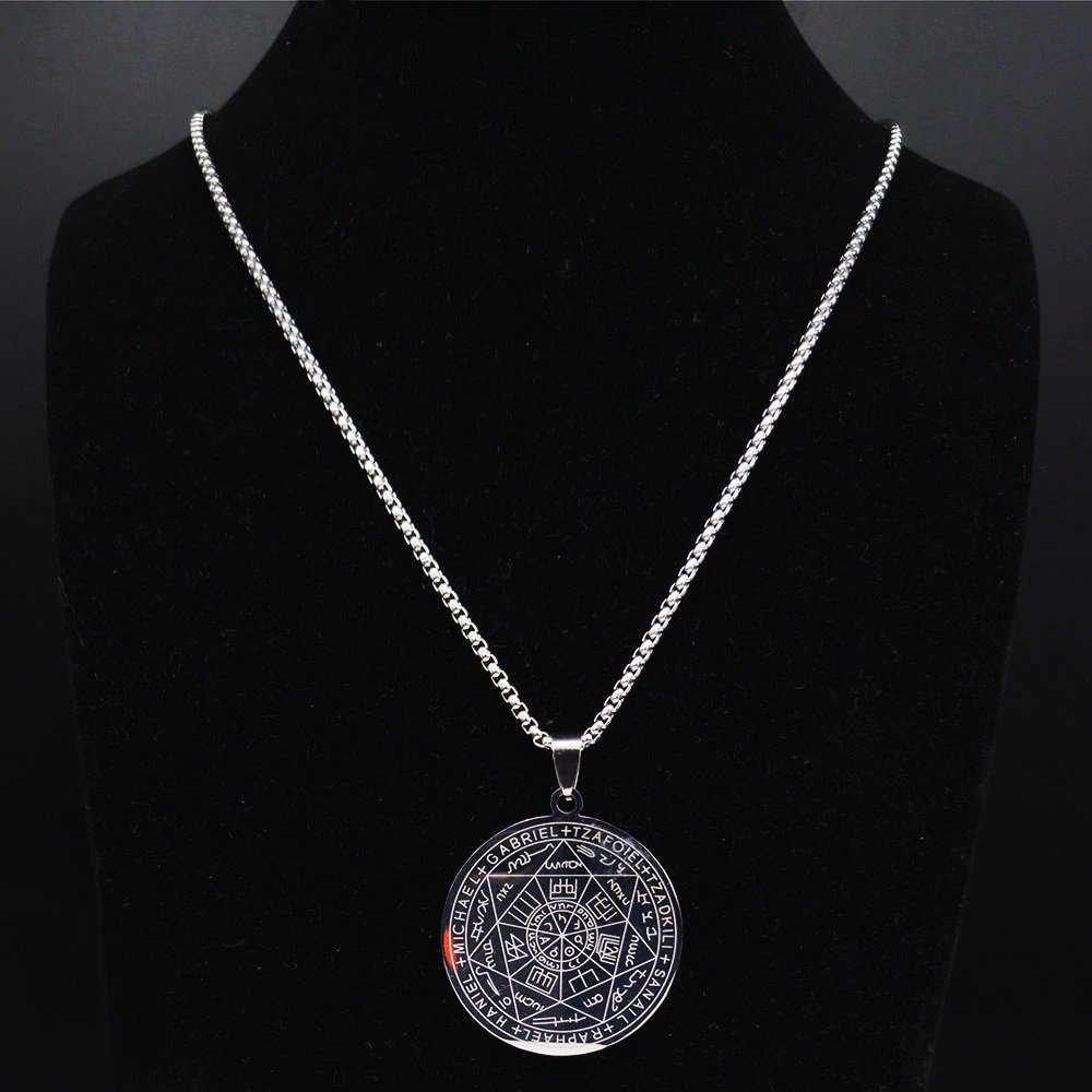 2021 Seven Archangels Witchca Pentagram Stainless Steel Necklace Chain Solomon Kabbalah Amulet
