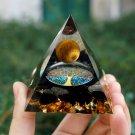 Genuine Tiger Eye Crystal Sphere & Obsidian Quartz Tree of Life Orgone Pyramid - Handmade!