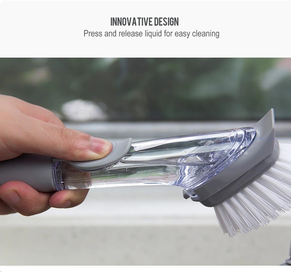 Automatic Soap Dispensing Refillable Long Handle Brush