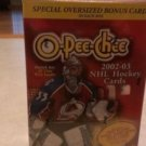 2002-03 OPEE-CHEE HOCKEY CARD BOX POSSIBLE-PATRICK ROY AUTOS-MARIO LEMIEUX RELIC
