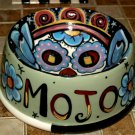 Tattoo ceramic custom Dog Bowl SKULL Bowl DAY OF THE DEAD DOD Skulls folk art