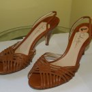 Women's Authentic Cole Haan Leather woven slingback heels wood heel Italy used
