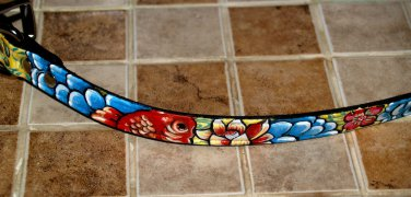 Tattoo Leather DOG collar KOI ASIAN WAVES 12 inches blue clouds 3/4 wide custom