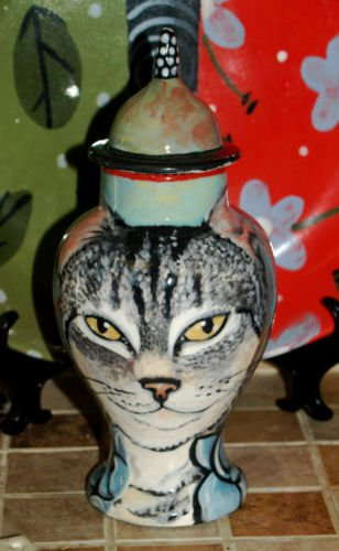 Custom ceramic Pet urn for ashes Cat cremation urn TABBY cats memorial small