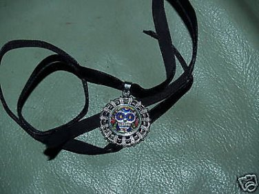 TATTOO Day of the dead skull PENDANT DOG NECKLACE raRe
