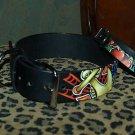 Tattoo leather dog collar 1X, 2 XL Nautical 2 in wide !