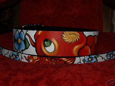 Tattoo Leather DOG collar KOI ASIAN WAVES 16-20 in neck extra wide black brown