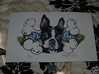 Artist Print Ltd Edition BOSTON Terrier PRINT s/n dog