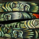 BLACK Leather DOG collar TIKI Rockabilly Large Handcrafted custom Tikis RARE