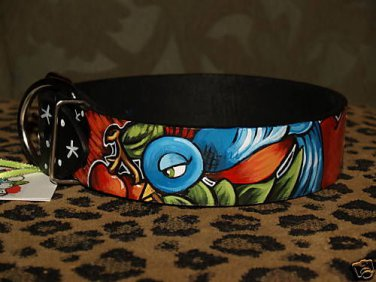 Tattoo Leather DOG collar SPARROW swallow Anchor X-wide