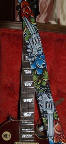 TATTOO Leather Guitar strap Guns Roses Custom rock