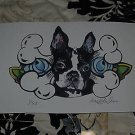 Artist TATTOO Print Ltd Ed BOSTON Terrier PRINT BONES