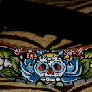 Tattoo black Leather DOG collar X- large day of the dead skull wings roses 2 in