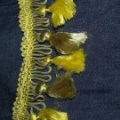 VINTAGE trim 1 yd 24 in long tassle fringe yellow