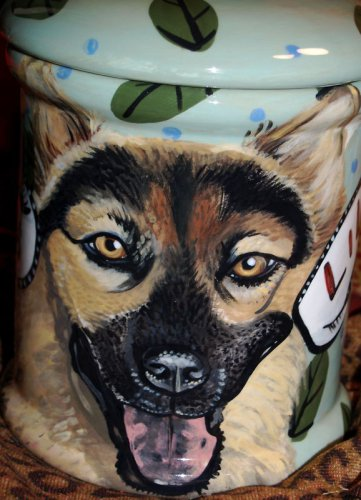 Tattoo DOG CANISTER Shepherd LARGE Cookie Jar any breed