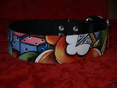 Tattoo Leather DOG collar nautical star anchor rose sm
