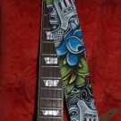 TATTOO Guns & Roses Black leather Guitar STRAP CUSTOM