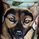 Tattoo DOG dish Doggie Cookie Jar German Shepherd LARGE