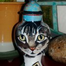 Custom Memorial CERAMIC SMALL Pet urn for CAT ashes tabby cats any animal art