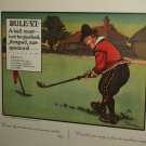Antique print Chas Crombie Perrier LITHO Crombies rules of GOLF VI CHARLES FRAME