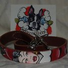 Tattoo Brwn Leather DOG collar pin up girl traditional