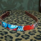 Tattoo Leather DOG collar SPARROW SWAROVSKI Bling RaRe
