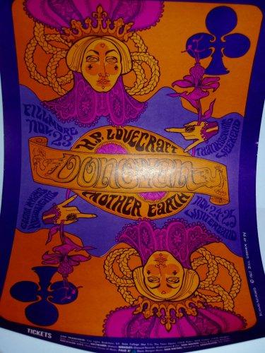 ORIGINAL Bill Graham 1967 Donovan H.P Lovecraft poster Fillmore Mother Earth