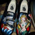 Custom TATTOO hand painted Men's sneakers VANS slip ons Nautical sailor mermaid