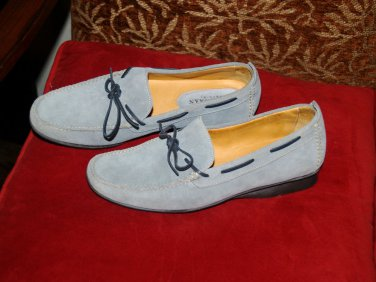 Women's Cole Haan country BLUE suede moccasin 7B Brazil leather top sider style