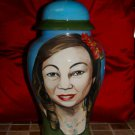 Custom hand painted funerary cremation urn for people PORTRAIT memorial ashes