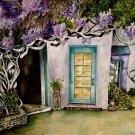 Impressionist Artist ORIGINAL WATER COLOR painting Doorway Wysteria garden 21x28