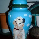 Custom Portrait MEMORIAL Pet URN DOG cremation ASH Hand Painted Golden Retriever