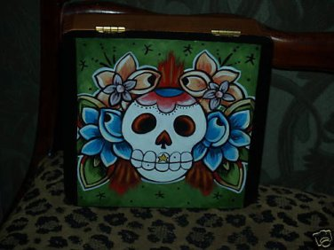 TATTOO JEWELRY box  SKULL crossbones sailor Roses ed