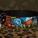 Tattoo Leather DOG collar SPARROW swallow Anchor extra wide dogs black collar