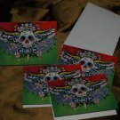 4 Tattoo Skull CARDS day of the dead skull w/ envelopes