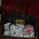TATTOO handbag purse LEATHER hand painted Jocasi handbag asian oni theme geisha