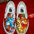 Custom TATTOO hand painted Men's sneakers VANS slip ons dragon oni phoenix Asian