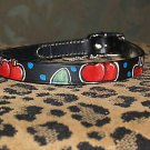 Tattoo Leather DOG collar CHERRIES rockabilly sailor Medium pin up custom