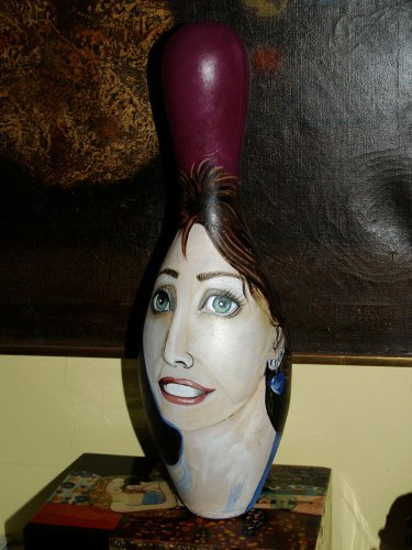 Tattoo Custom Hand PAINTED Bowling Pin portrait any style FOlk Art Painting RaRe