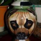 Custom Portrait MEMORIAL Pet URN DOG PIT BULL cremation ASHES burial vessel rare